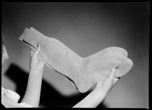 Knitted socks being displayed