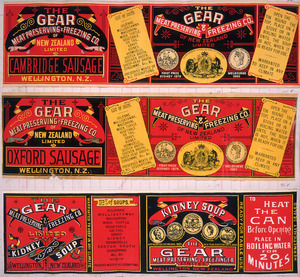 Gear Meat Company :[Three labels for Cambridge sausage; Oxford sausage; and, Kidney soup]. Gear Meat Preserving & Freezing Company of New Zealand, Wellington New Zealand. [1890-1920].