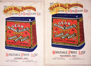 Gear Meat Preserving and Freezing Company Ltd :Wholesale price list, January 1905; [and] Wholesale price list, November 1902. [Covers].