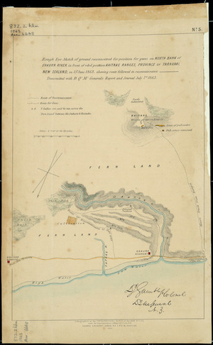 Rough eye sketch of ground reconnoitred for position for guns on north bank of Oakura River in front of rebel position Kaitake Ranges, Province of Taranaki, New Zealand [cartographic material] : shewing route followed in reconnaissance : transmitted with D.Qr.Mr. General's report and journal, July 7th 1863.