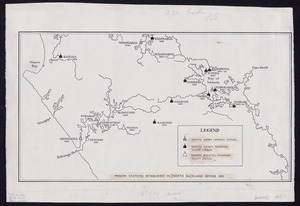 [Creator unknown] :Mission stations established in North Auckland before 1845 [ms map]. [1819-1845]