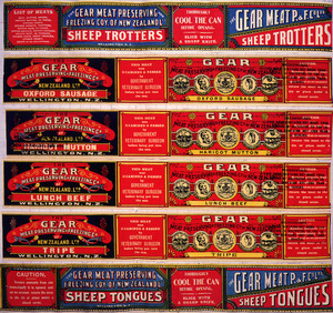 Gear Meat Company :[Six labels for Sheep trotters; Oxford sausage; Haricot mutton; Lunch beef; Tripe; and, Sheep tongues]. Gear Meat Preserving & Freezing Company of New Zealand, Wellington New Zealand. [1890-1920].