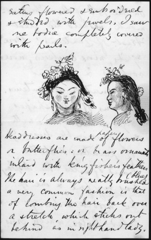 Page from letter which includes detail of Chinese women's head-dress