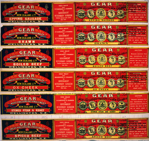 Gear Meat Company :[Six labels for Epping sausage; Brawn; Boiled beef; Ox cheek; Stewed steak and kidney; and, Spiced beef]. Gear Meat Preserving & Freezing Company of New Zealand, Wellington New Zealand. [1890-1920].
