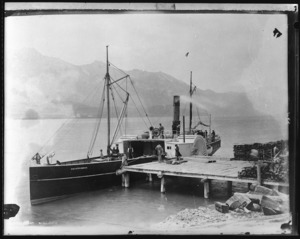 Paddle steamer Mountaineer berthed at Kinlock, Lake Wakatipu - Photograph taken by the Burton Brothers