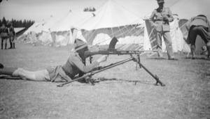 Soldier with bren gun at Waiouru Army Training Camp