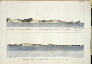 Parkinson, Sydney, 1745-1771 :A view of the North side of the entrance into Poverty Bay & Morai Island in New Zealand. 1. Young Nick's Head. 2. Morai Island. View of another side of the entrance into the said bay. S. Parkinson del. R. B. Godfrey sc. Plate XIV. [London, 1784]