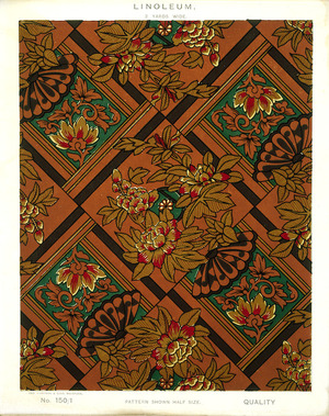 George Harrison & Co (Bradford) :Linoleum, 2 yards wide. [Victorian chinoiserie fan, peony and leaf pattern]. No. 150/1. Pattern shown half size. [1880s?]