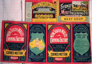 [Two labels] :Sydney Meat Preserving Company Ltd, Sydney, N.S.W. Beef soup; and, New South Wales Canning Factory (Sydney). Corned mutton. [Both 1890-1920?].