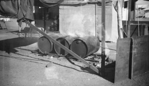 Fuel drums under canvas shelter, Waiouru Army Training Camp