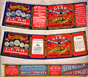 Gear Meat Company :[Three labels for Boiled mutton; Corned mutton; and, Sheep tongues]. Gear Meat Preserving & Freezing Company of New Zealand, Wellington New Zealand. [1890-1920].