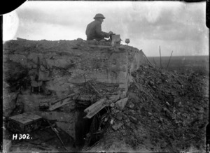 New Zealand World War 1 signaller on a German dug-out, in Belgium