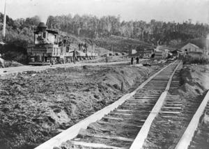 Railway line and locomotive, Taupo Totara Timber Company at Mokai