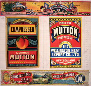 Various artists :[Four canned meat labels. ca 1890-1920].