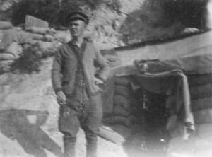 A soldier at the entrance to his dug-out, Gallipoli, Turkey