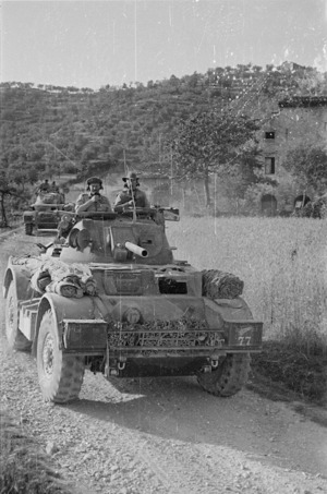 New Zealand Prime Minister Peter Fraser and General Freyberg in an armoured car near Sora, Italy, during World War 2