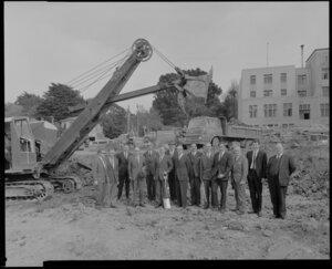 Officials at Reserve Bank building construction site, The Terrace, Wellington