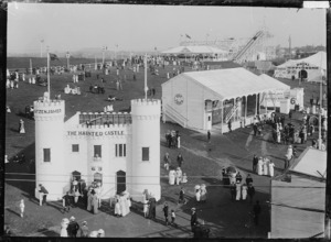 View of Wonderland showing the Haunted Castle and Roller Coaster, Auckland Exhibition, Auckland Domain