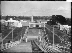 View of the Wonderland chute at the Auckland Exhibition, Auckland Domain