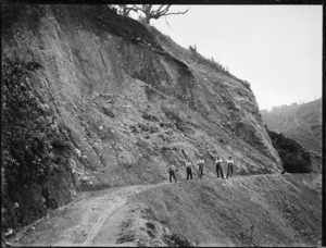 Road at Akatarawa, and road construction workers