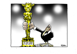 """[The kiwi dairy industry holds a cow shaped Oscar trophy for """"The Bad Shape of Our Water""""]"""