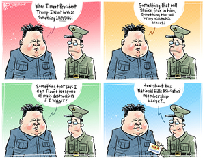 "[Kim Jong-un plans to ""flaunt weapons of mass destruction"" when meeting Donald Trump by wearing a ""National Rifle association membership badge""]"