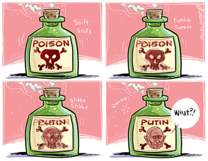 [Putin's face appears on a poisonous chemical gas canister]