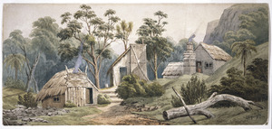 Hoyte, John Barr Clark, 1835-1913 :[Miners' slab huts in a bush clearing, Coromandel district. Between 1864 and 1867]