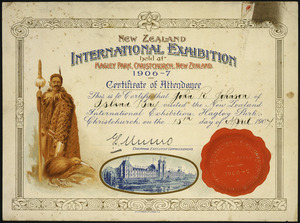 New Zealand International Exhibition (Christchurch, 1906-1907) :New Zealand International Exhibition held at Hagley Park, Christchurch, New Zealand 1906-7. Certificate of attendance. This is to certify that [John R Johnson] of [Island Bay] visited the ... on the [15th] day of [April] 1907. G S Munro, Chairman Executive Commissioners. ChCh Press Co litho, N.Z. [1906].