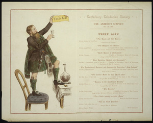 Canterbury Caledonian Society :Canterbury Caledonian Society St Andrew's supper, Nov 30, 1889. Toast list. D McLennan, litho. Whitcombe & Tombs Limited, 14618. 1889.