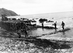 Building the south end of the sea wall for the Centennial Highway, Paekakariki