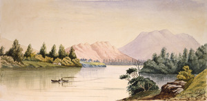 Welch, Joseph Sandell 1841-1918:Waikato River, from Mercer, from a sketch by Mr. J. C. Hoyte [1870s]