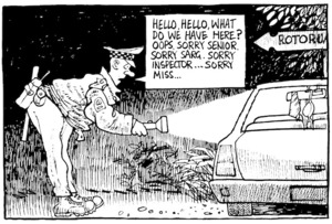Scott, Thomas, 1947- :'Hello, hello, what do we have here? Oops. Sorry Senior. Sorry Sarg. Sorry Inspector...Sorry Miss...' Dominion Post, 19 February 2004.