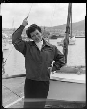 Girl modelling windcheater in boatyard