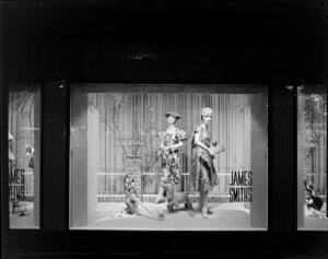 Dresses on display in window, James Smith Ltd., 1959