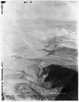 Looking down a rift in the side of Mount Tarawera after the 1886 eruption