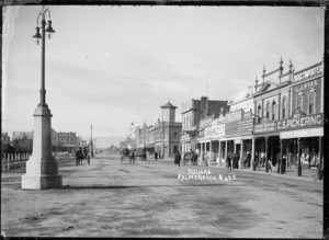 Church Street, Palmerston North, towards the offices of the District Valuer, and the Inspector of Stock - Photograph taken by E R Whalley