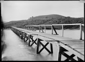 Old Mill Bridge over the Aroaro Creek, Raglan Harbour, 1910 - Photograph taken by Gilmour Brothers