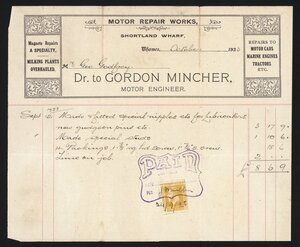 Mincher, James Gordon, 1892-1966 :Mr Geo Godfrey, Dr to Gordon Mincher, motor engineer, Motor repair works, Shortland Wharf, Thames, October 1923. [Invoice September 12, 1923]. Paid 24/9/23.
