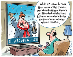 "News: Weather ""While NZ braces for snow, the chances of Hell freezing over when the Greens strike a coalition deal with National have now plummeted with the election of new co-leader Marama Davidson"""