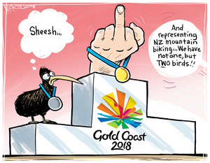 "Gold Coast 2018 [Commonwealth Games]. ""And representing NZ mountain biking. We have not one, but TWO birds!!"""