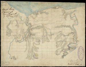 Carrington, Frederic, Alonzo, 1808?-1901 :Rough sketch of ground at New Plymouth [ms map]. By F.A. Carrington, New Plymouth, New Zealand, sketched in 1841.