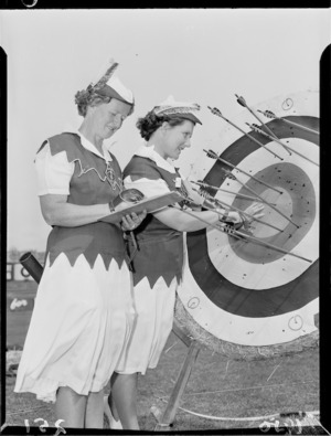 Two female archers at Athletic Park, Wellington