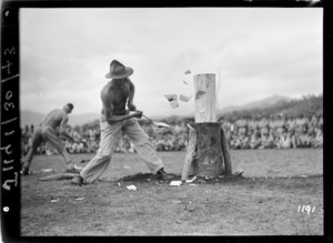 Soldier taking part in a wood chopping competition in New Caledonia during World War 2
