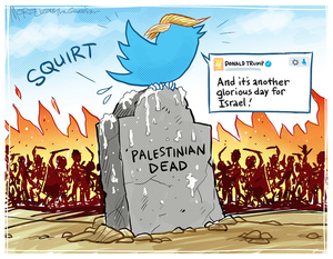 """[President Trump """"tweets"""" on a gravestone for """"Palestinian Dead""""]"""