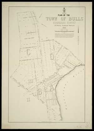 Plan of the town of Bulls, standard survey [cartographic material] / J.F. Sicely, assistant surveyor, 1882 ; drawn by F.J. Halse ; J.W.A. Marchant, chief surveyor, Wellington.