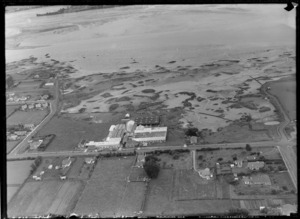 View of Woollen Mills factory buildings with the Manukau Harbour tidal flats beyond, Onehunga, South Auckland