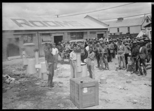 Collecting boiling water, after the 1931 Hawke's Bay earthquake