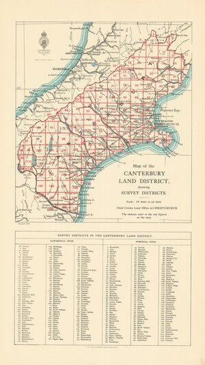 Map of the Canterbury Land District  showing survey districts [electronic resource].
