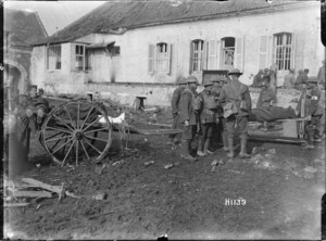 New Zealanders moving wounded German soldiers in France, during World War I